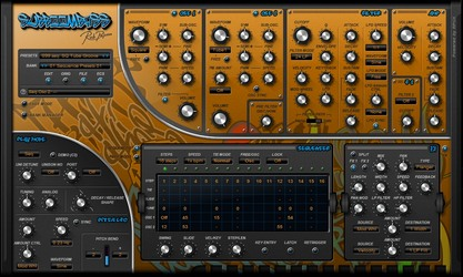 Rob Papen SubBoomBass with 'Sequencer' and 'FX' section open.